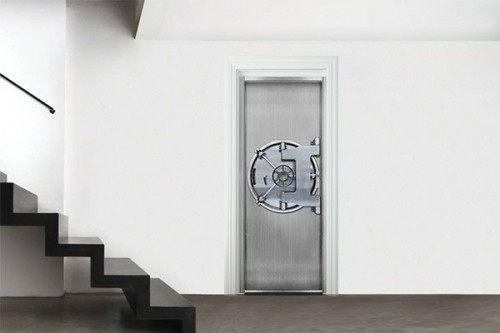 Sticker porte trompe l'oeil Bank