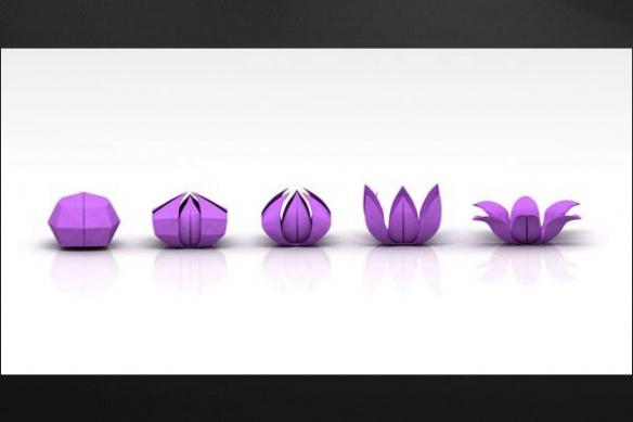 Tableau deco design Origami fleur violet