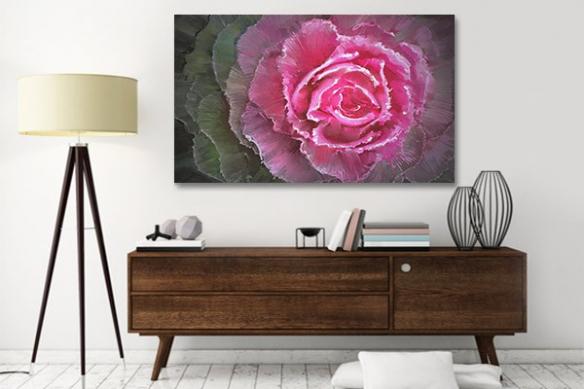 Cadre decoration indolence , tableau fleur rose pour intérieur salon