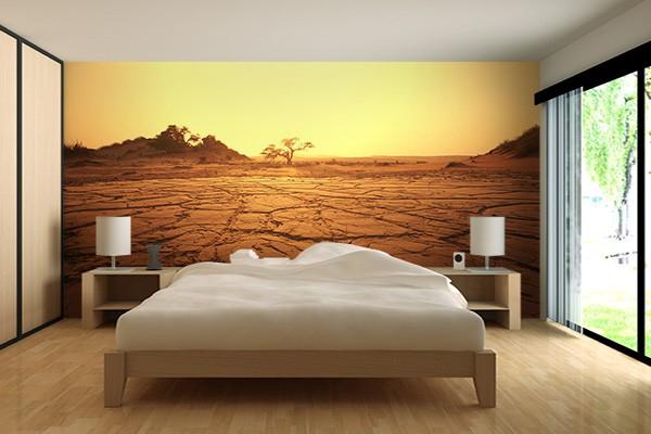 Trompe l 39 oeil mural terre d sertique pour un papier peint chambre - Papier peint original chambre ...