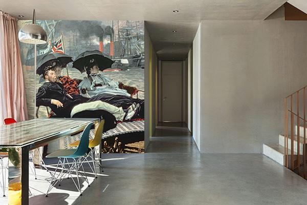 papier peint style anglais trompe oeil paysage marin. Black Bedroom Furniture Sets. Home Design Ideas