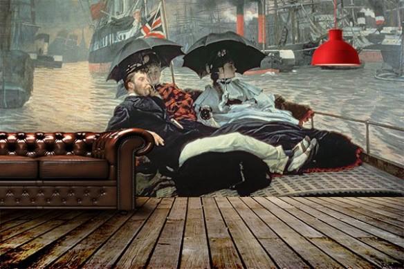 gentleman british et demoiselles sur un bateau poster mural