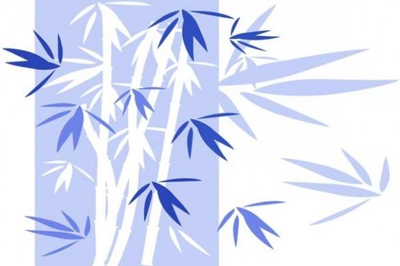 Tableau décoratif photo Bambou bleu