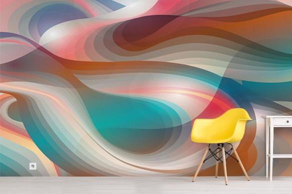 Papier peint vintage vague de couleurs