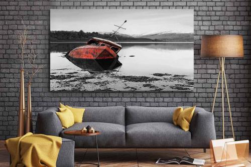 Tableau contemporain bateau rouge