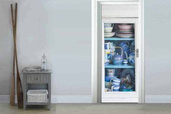 Un trompe l 39 oeil pour la porte de votre cuisine - Sticker porte de placard ...