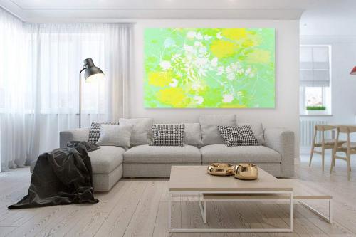 Tableau contemporain Aquacolor vert