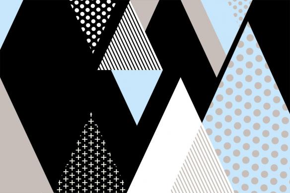 Tableau abstrait scandinave Tartane bleu