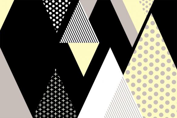 Toile déco minimaliste Tartane jaune
