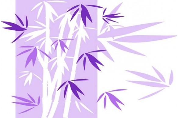 Toile deco zen chambre Bambou violet