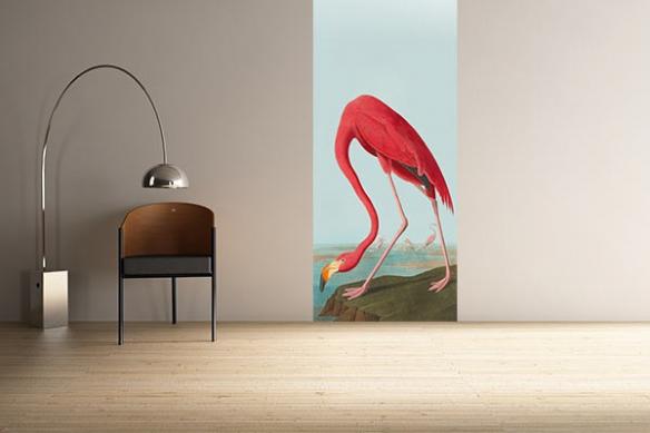 Papier peint vintage Flamant rose Zoologique