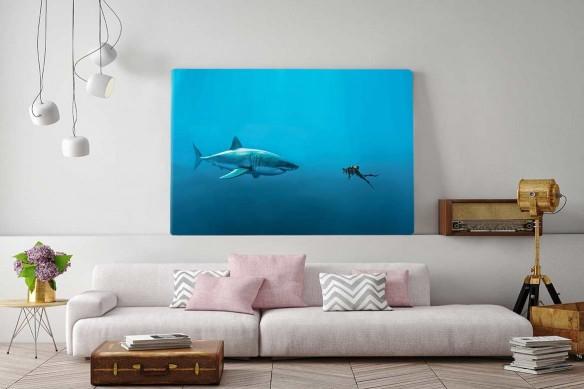 Tableau moderne Rencontre avec un requin