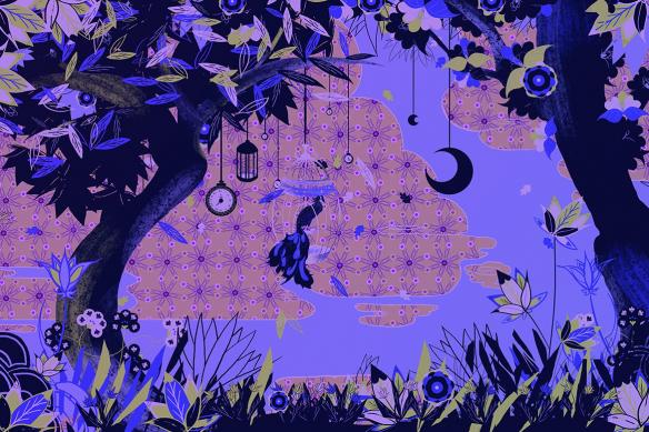 Poster mural Moment enchanté violet