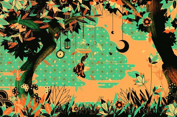 Papier peint mural Moment enchanté vert