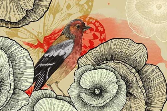 Papier peint graphique Pic Assiette rouge