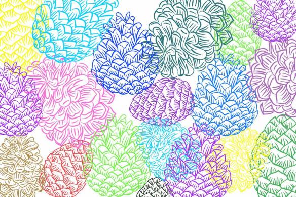 Tableau contemporain coloré Pommes de Pin