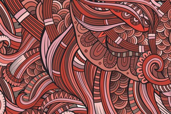 Tableau original abstrait Tohu Bohu rouge