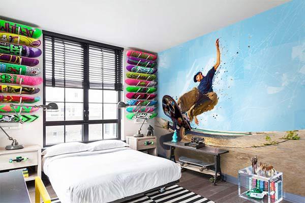 Papier peint design chambre ado slide izoa - Papier peint original chambre ...