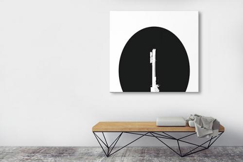 Tableau noir et blanc abstrait Fiji