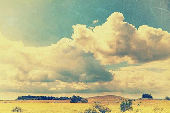 Papier peint paysage retro Nuages