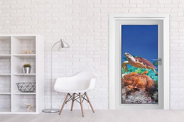 poster de porte tortue marine d coration th me marin. Black Bedroom Furniture Sets. Home Design Ideas