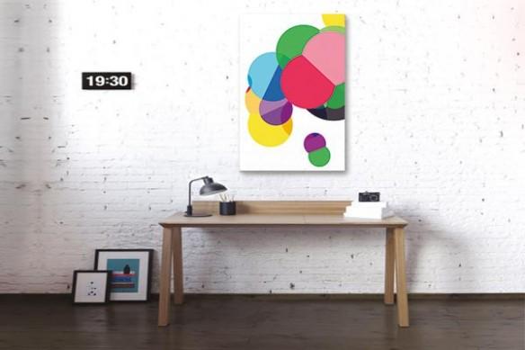 Tableau abstrait coloré Atome