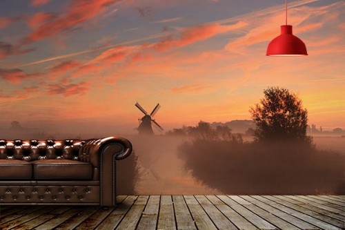 Trompe l'œil mural Moulin et soleil couchant