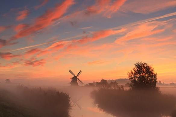poster mural paysage Moulin et soleil couchant