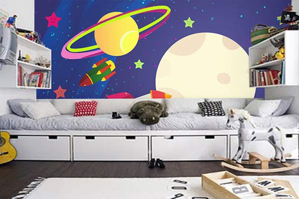 poster mural chambre enfant spicy space izoa. Black Bedroom Furniture Sets. Home Design Ideas
