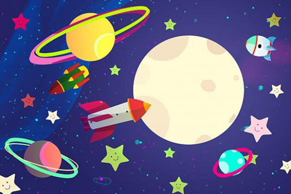 Papier peint chambre enfant espace