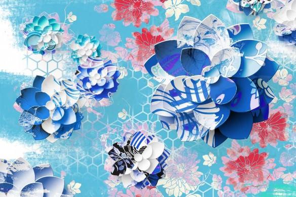 Lotus Graphique bleu