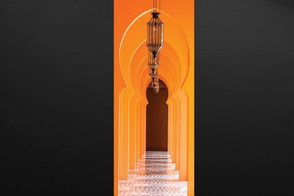 sticker porte trompe l 39 oeil arche vo t e orientale izoa. Black Bedroom Furniture Sets. Home Design Ideas