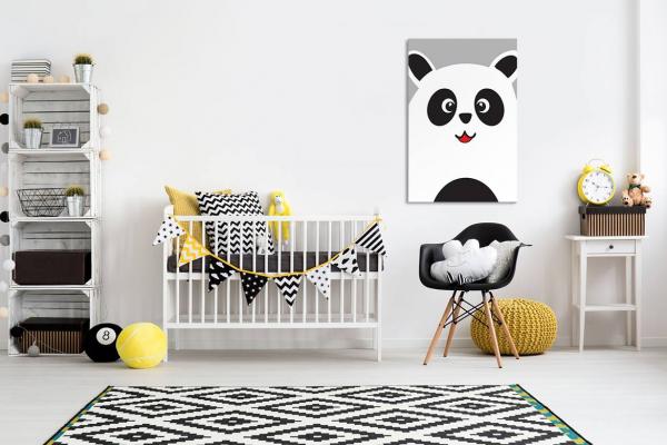 Chambre Bébé Bleu Et Rouge : Toile déco enfant petit panda izoa