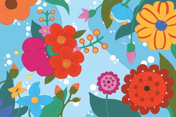 Toile déco scandinave Féérie Florale bleu ciel