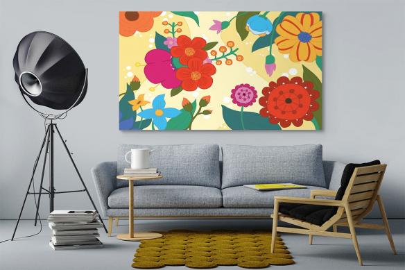 toile contemporaine fleurie jaune