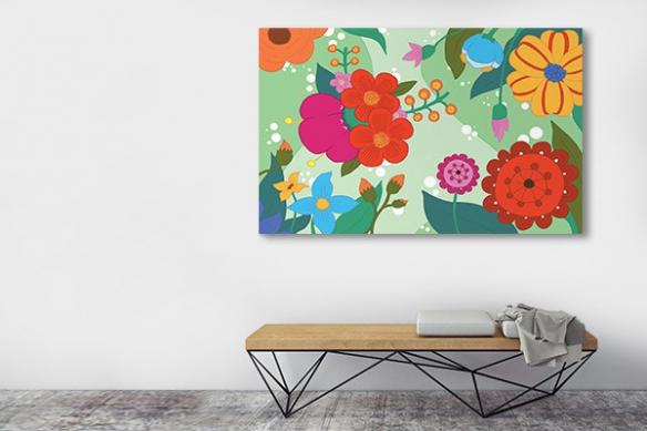 Tableau couloir fleurs vertes