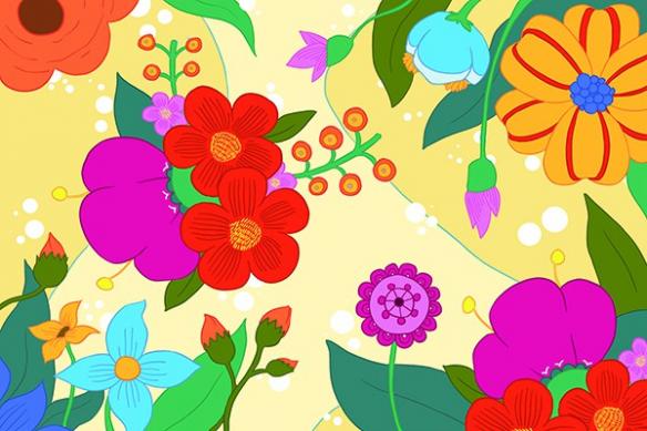 papier peint fleur vintage féérie jaune