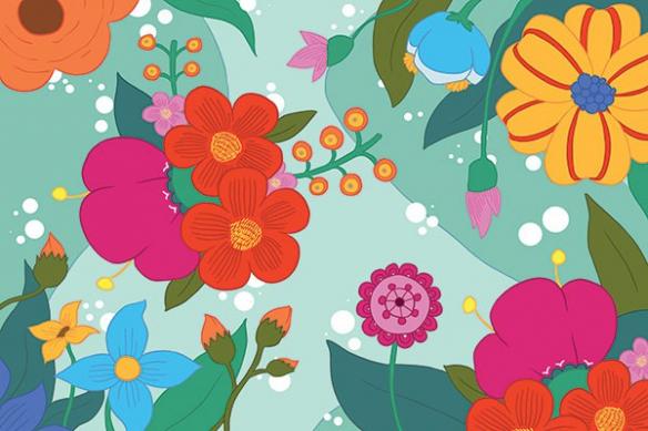 poster géant fleur féérie vert
