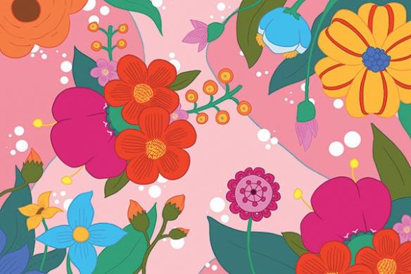 poster mural fleur féérie rose