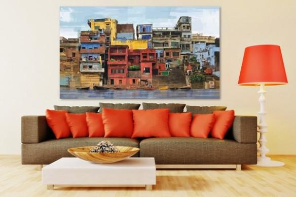 Tableau peinture coloré Favelas