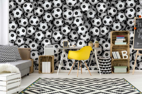 papier peint original chambre ado ballons de foot izoa. Black Bedroom Furniture Sets. Home Design Ideas