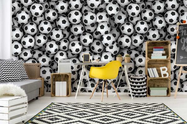 Papier peint original Chambre Ado Ballons de Foot - Izoa