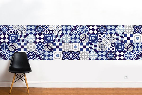 frise murale azulejos papier peint imitation carreaux de. Black Bedroom Furniture Sets. Home Design Ideas