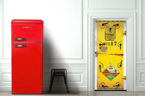 Sticker porte original Zombies Inside jaune