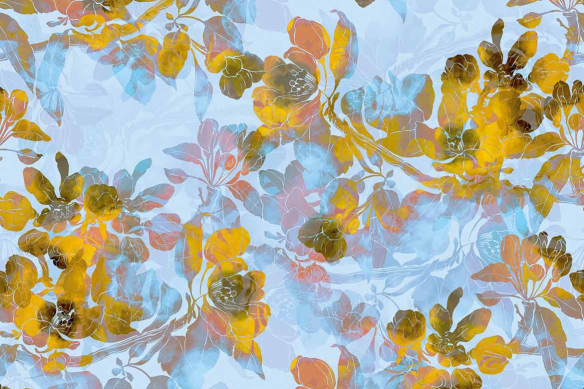 Tableau design fleurs Boho jaune