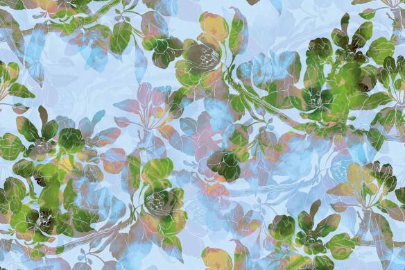 Tableau moderne fleurs Boho vert