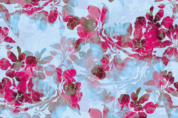 Tableau mural fleurs Boho rose