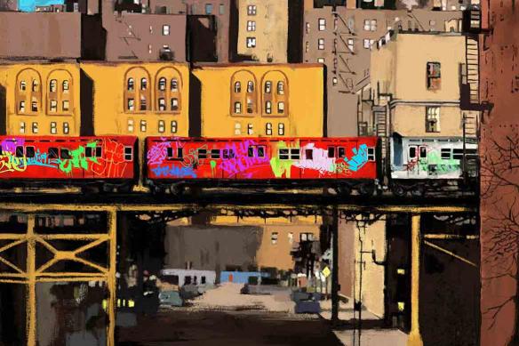papier peint moderne Train taggué