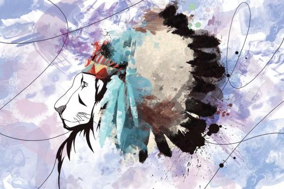 Tableau déco Lion Indien violet