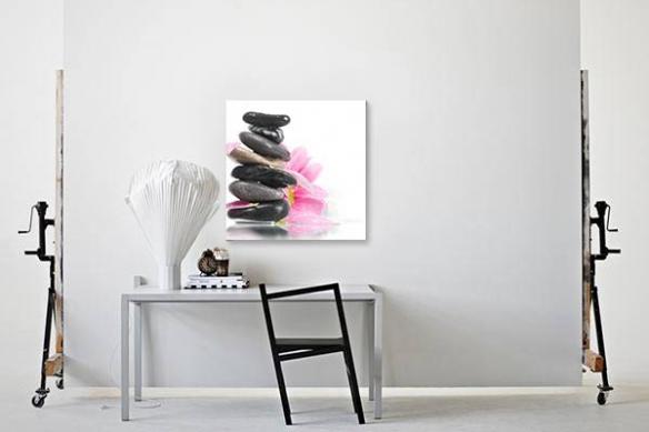 toile zen contemporaine galets et fleurs